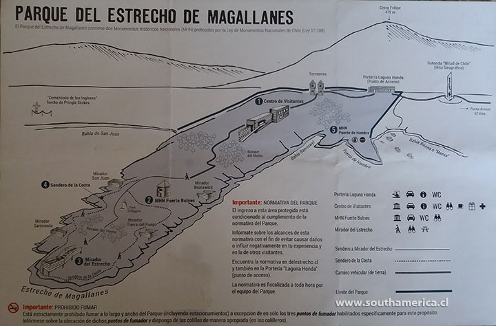 Map of Fuerte Bulnes and Parque del Estrecho de Magallanes