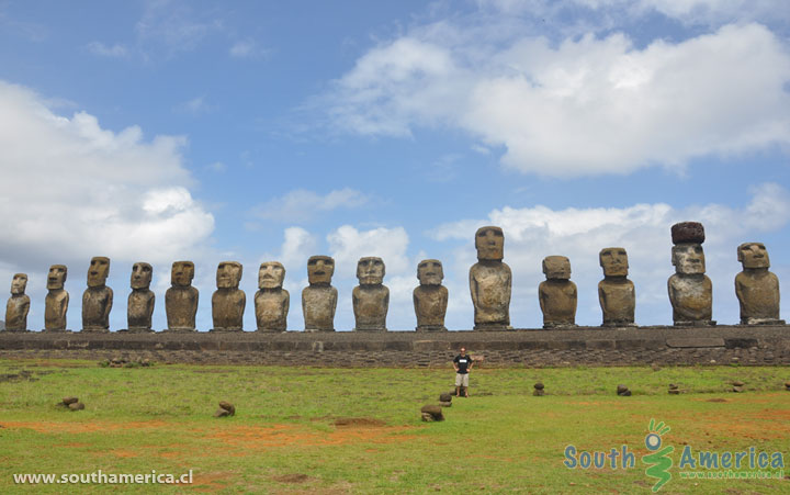 GoEoo 8x6.5ft Moais at AHU Tongariki Vinyl Photography Background Chile Easter Island Huge Stone Sculptures Statues Backdrop Historical Cultural Relics Heritage Tourism Resort Studio Props